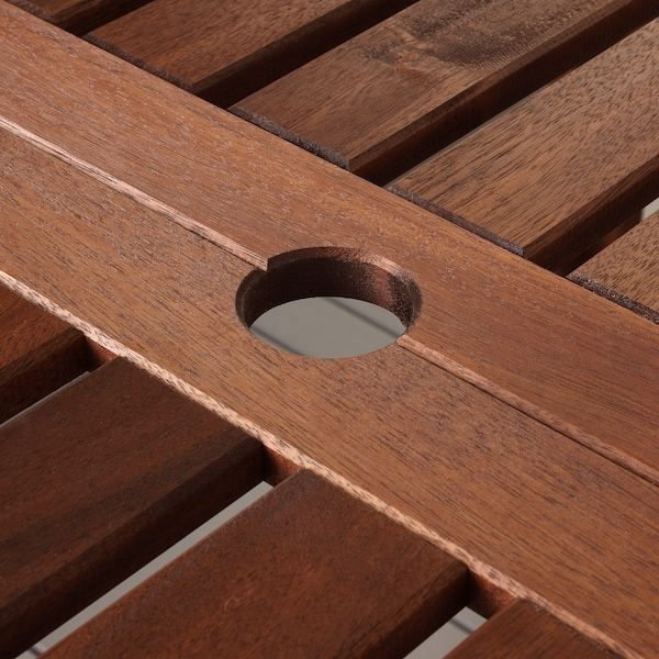 ÄPPLARÖ Table+8 chaises à dossier inclin, teinté brun/Hållö noir