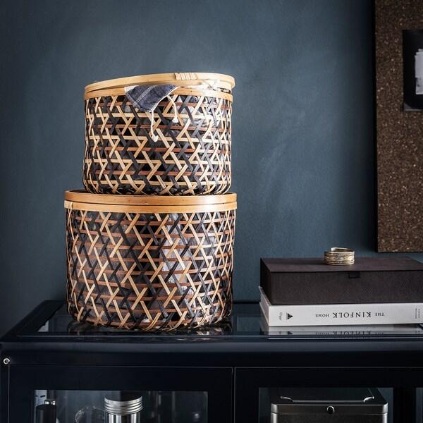 ANILINARE Boîte rangement avec couvercle, 2p, bambou noir/brun
