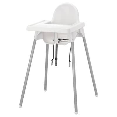 ANTILOP Chaise haute avec plateau, blanc/gris argent