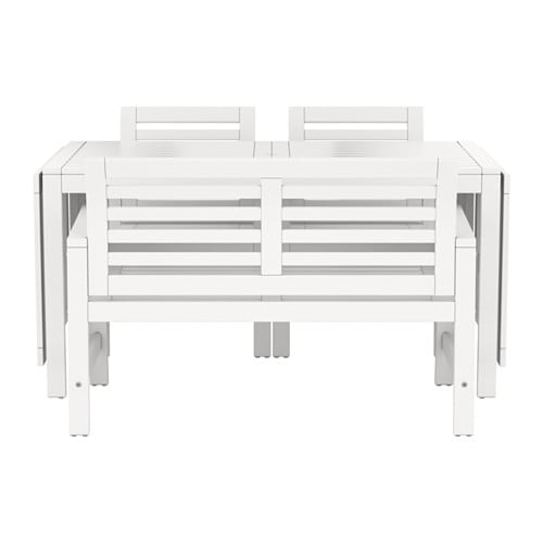Pplar table 2 ch accoud banc ext rieur blanc ikea for Banc exterieur ikea