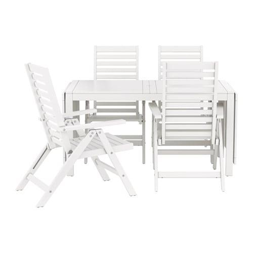 Pplar table 4 chais doss incl ext rieur blanc ikea for Table d exterieur ikea