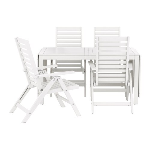 pplar table 4 chais doss incl ext rieur blanc ikea. Black Bedroom Furniture Sets. Home Design Ideas