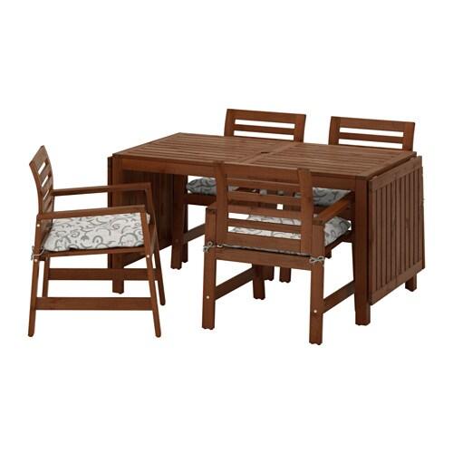 pplar table 4 chaises accoud ext rieur pplar teint brun steg n beige ikea. Black Bedroom Furniture Sets. Home Design Ideas
