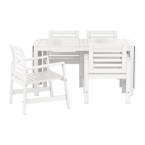 Pplar table 4 chaises accoud ext rieur blanc ikea - Chaises exterieur ikea ...