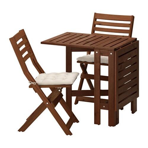 Pplar table 2 chaises pliantes ext rieur pplar teint brun h ll beige - Chaise pliantes ikea ...