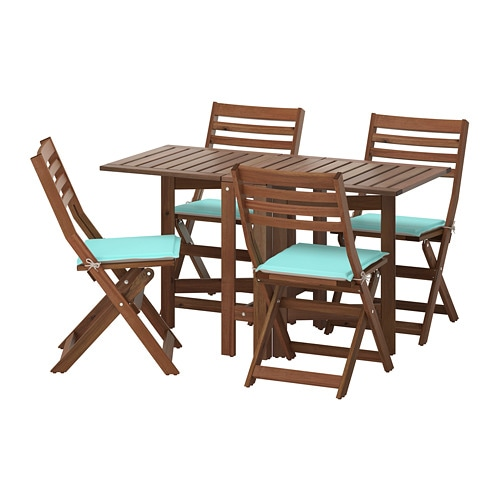 pplar table 4 chaises pliantes ext rieur pplar teint brun n st n turquoise beige ikea. Black Bedroom Furniture Sets. Home Design Ideas