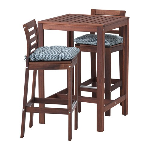 pplar table haute 2 tabourets bar pplar teint brun ytter n bleu ikea. Black Bedroom Furniture Sets. Home Design Ideas