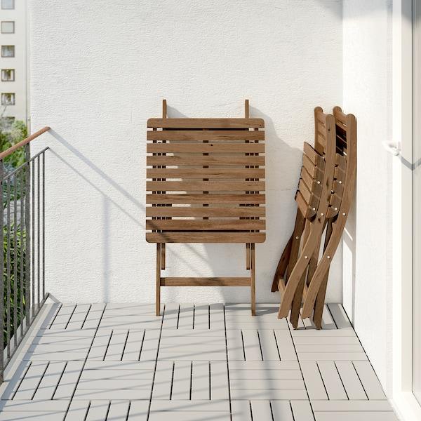 ASKHOLMEN Table et 2 chaises pliantes, ext, teinté gris-brun/Frösön/Duvholmen bleu