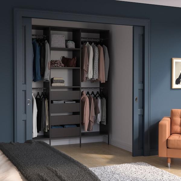 """AURDAL Agencement armoire-penderie, gris foncé, 74 3/4x15 3/4x87 """""""
