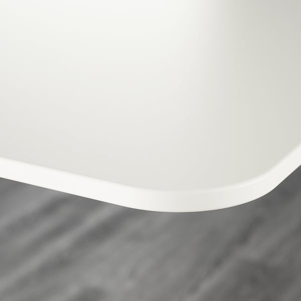 """BEKANT Bureau assis-debout, blanc/noir, 63x31 1/2 """""""