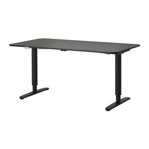 bekant bureau assis debout brun noir noir ikea. Black Bedroom Furniture Sets. Home Design Ideas