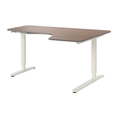 bekant bureau d 39 angle dr assis debout gris blanc ikea. Black Bedroom Furniture Sets. Home Design Ideas