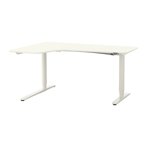 bekant bureau d 39 angle gch assis debout blanc ikea. Black Bedroom Furniture Sets. Home Design Ideas