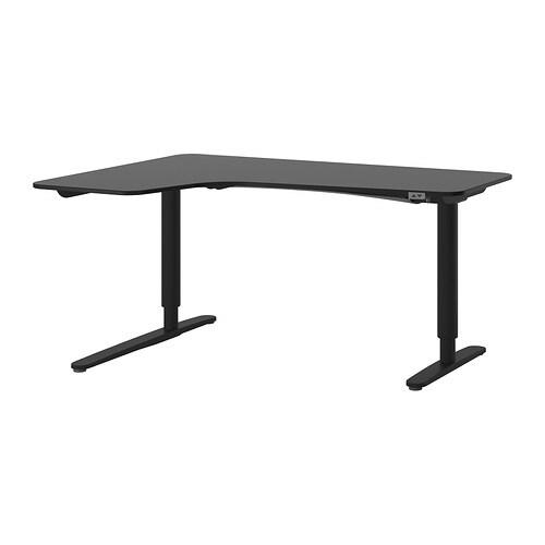 bekant bureau d 39 angle gch assis debout brun noir noir ikea. Black Bedroom Furniture Sets. Home Design Ideas