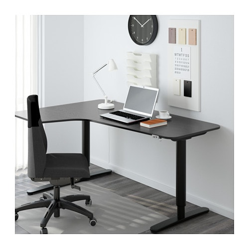 bekant bureau d 39 angle gch assis debout brun noir noir ikea. Black Bedroom Furniture Sets. Home Design Ideas