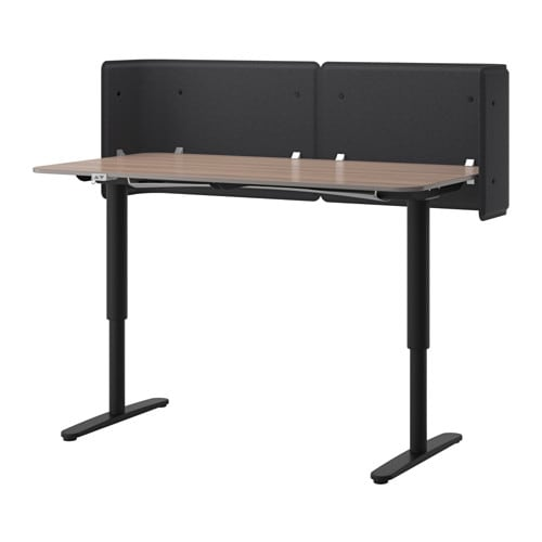 bekant bureau de r ception assis debout gris noir ikea. Black Bedroom Furniture Sets. Home Design Ideas