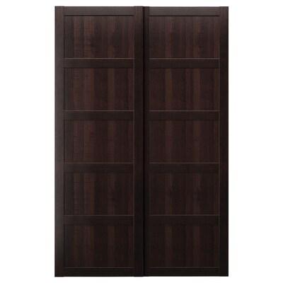 """BERGSBO Portes coulissantes, 2 pièces, brun-noir, 59x92 7/8 """""""
