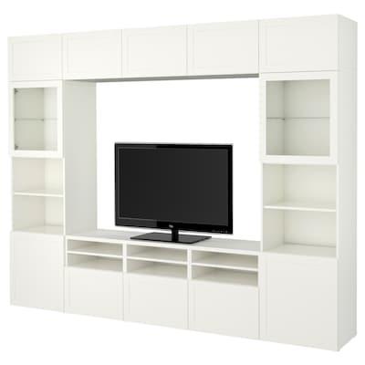 "BESTÅ Agenc rangt télé/vitrines, blanc/Hanviken verre transparent blanc, 118 1/8x16 1/2x91 """