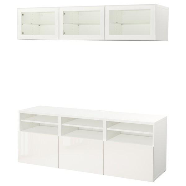"BESTÅ Agenc rangt télé/vitrines, blanc/Selsviken verre transparent blanc/brillant, 70 7/8x15 3/4x75 5/8 """