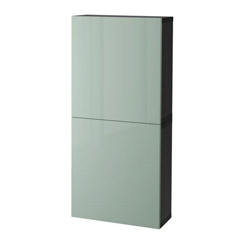 best armoire murale 2 portes brun noir selsviken ultrabrillant gris vert clair ikea. Black Bedroom Furniture Sets. Home Design Ideas