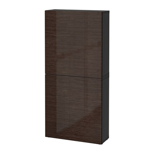 best armoire murale 2 portes brun noir selsviken brun ultrabrillant ikea. Black Bedroom Furniture Sets. Home Design Ideas
