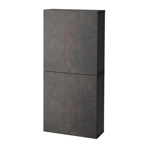 best armoire murale 2 portes brun noir kallviken gris fonc effet b ton ikea. Black Bedroom Furniture Sets. Home Design Ideas