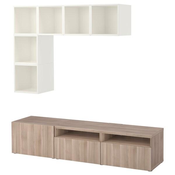 """BESTÅ / EKET Rangement télé, blanc/effet noyer teinté gris, 70 7/8x15 3/4x66 7/8 """""""