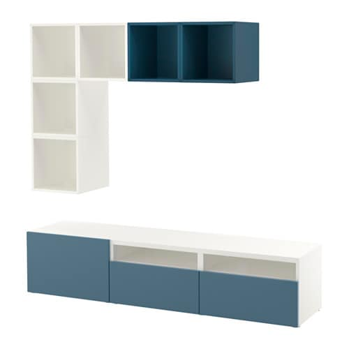 best eket rangement t l blanc bleu fonc glissi re tiroir fermeture silence ikea. Black Bedroom Furniture Sets. Home Design Ideas