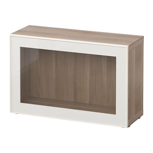 best tag re avec porte vitr e effet noyer teint gris glassvik blanc verre clair ikea. Black Bedroom Furniture Sets. Home Design Ideas