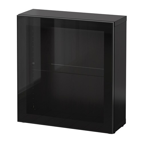best tag re avec porte vitr e brun noir glassvik noir verre clair ikea. Black Bedroom Furniture Sets. Home Design Ideas