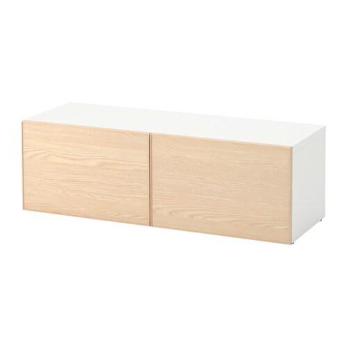 BESTÅ Étagère avec portes   blanc/Inviken frêne plaqué   IKEA