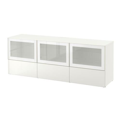 Best meuble t l portes et tiroirs blanc selsviken for Meuble tele verre