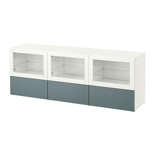 Best meuble t l portes et tiroirs blanc valviken for Glissiere porte coulissante meuble
