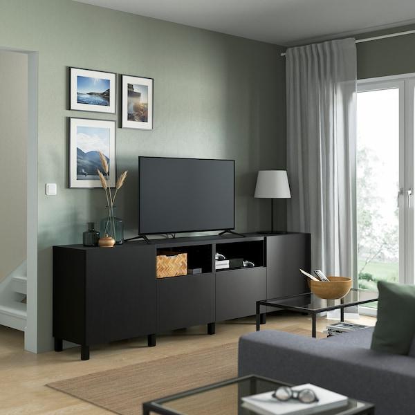 "BESTÅ Meuble télé à portes et tiroirs, brun-noir/Lappviken/Stubbarp brun-noir, 94 1/2x16 1/2x29 1/8 """