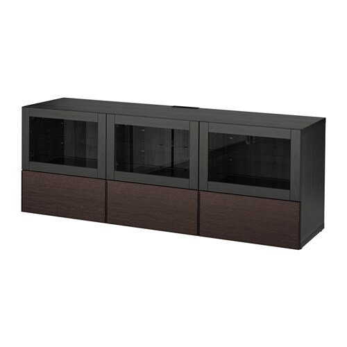 best meuble t l portes et tiroirs brun noir sindvik inviken verre transparent brun noir. Black Bedroom Furniture Sets. Home Design Ideas