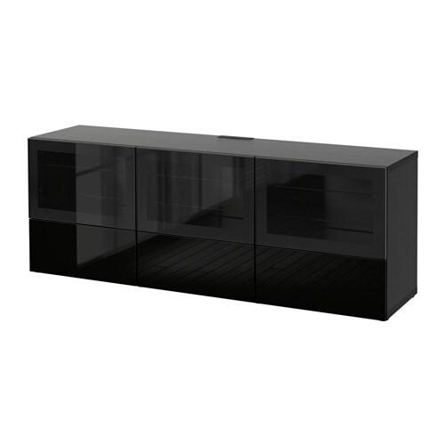 best meuble t l portes et tiroirs brun noir selsviken verre transparent noir brillant. Black Bedroom Furniture Sets. Home Design Ideas