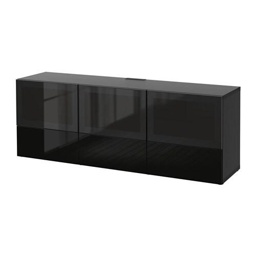 best meuble t l portes et tiroirs brun noir selsviken verre fum noir brillant glissi re. Black Bedroom Furniture Sets. Home Design Ideas