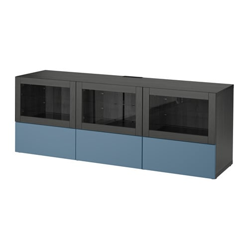 best meuble t l portes et tiroirs brun noir valviken bleu fonc verre clair glissi re. Black Bedroom Furniture Sets. Home Design Ideas