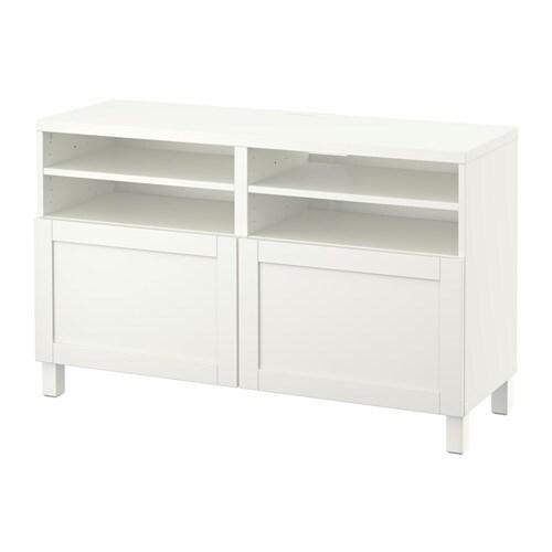 Best meuble t l avec portes hanviken blanc ikea for Meuble 4 portes ikea
