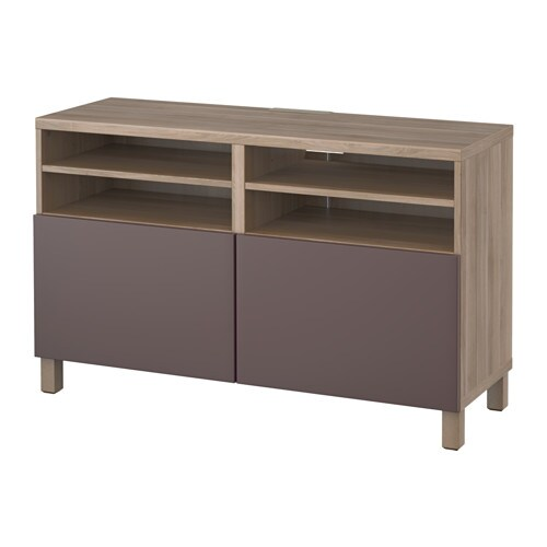 Best meuble t l avec portes effet noyer teint gris for Meuble 2 portes ikea