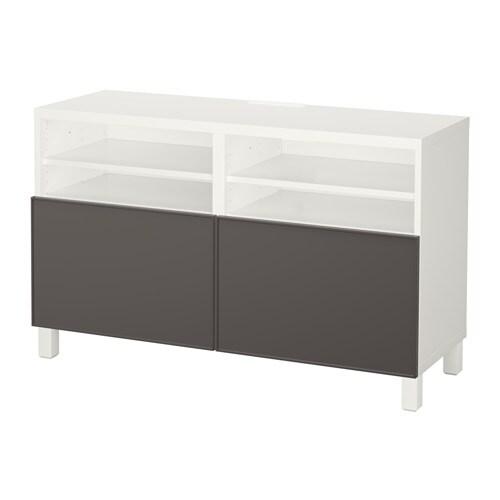 Best meuble t l avec portes blanc grundsviken gris for Meuble 4 portes ikea