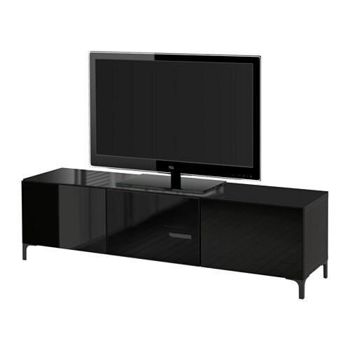 best meuble t l avec portes brun noir selsviken verre fum noir brillant 180x40x38 cm. Black Bedroom Furniture Sets. Home Design Ideas