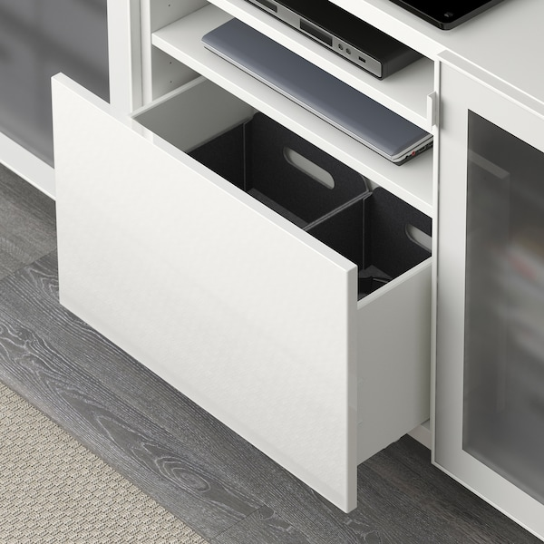 """BESTÅ Meuble télé avec tiroirs, blanc/Selsviken verre dépoli/blanc ultrabrillant, 70 7/8x15 3/4x29 1/8 """""""