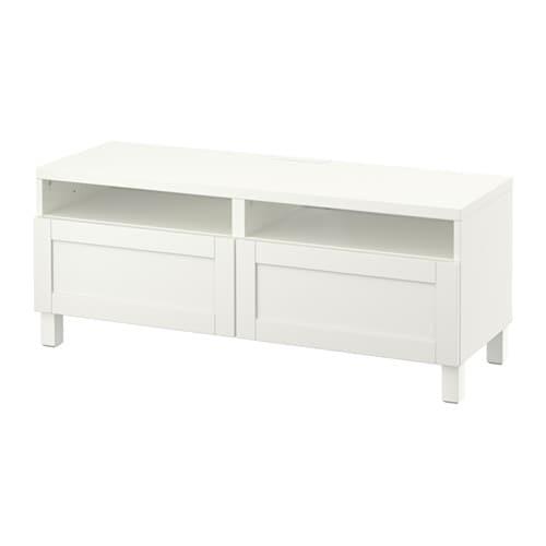 Best meuble t l avec tiroirs hanviken blanc glissi re - Meuble tele blanc ikea ...