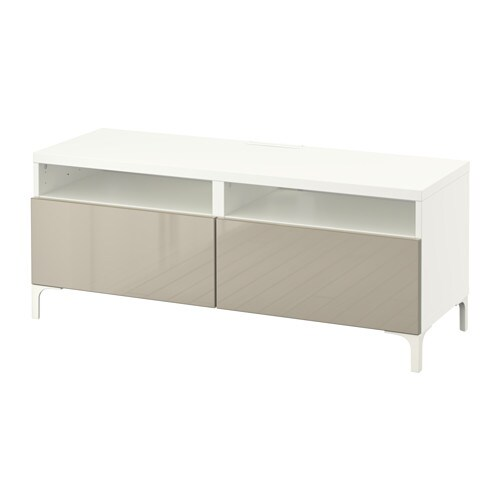 Best meuble t l avec tiroirs blanc selsviken ultrabrillant beige glissi - Meuble avec panier ikea ...