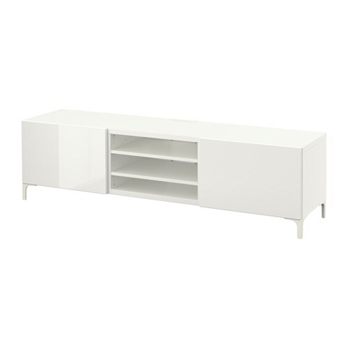 Best meuble t l avec tiroirs blanc selsviken brillant - Glissiere de tiroir a fermeture amortie ...