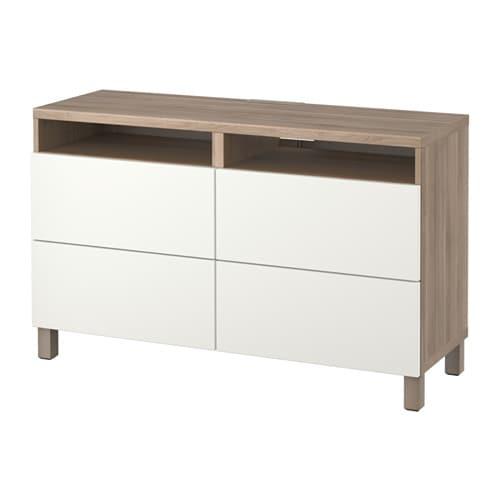 Best meuble t l avec tiroirs effet noyer teint gris lappviken blanc gli - Meuble tele ikea blanc ...