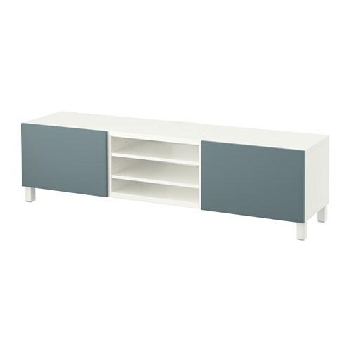 Best meuble t l avec tiroirs blanc valviken gris - Meuble besta ...