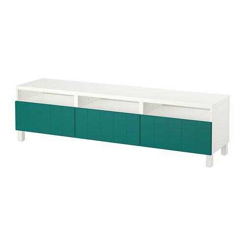 best meuble t l avec tiroirs blanc hallstavik bleu vert glissi re tiroir ouv par pression. Black Bedroom Furniture Sets. Home Design Ideas