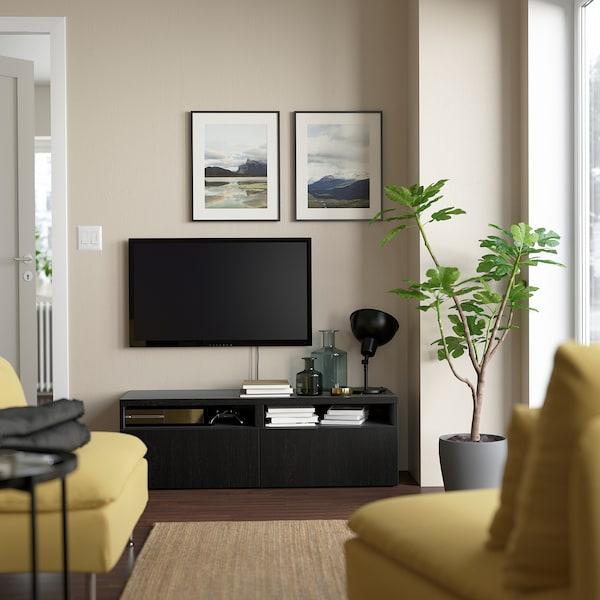 """BESTÅ Meuble télé avec tiroirs, brun-noir/Lappviken brun-noir, 47 1/4x16 1/2x15 3/8 """""""